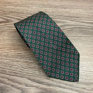 Jos A Bank Green w/ Red & White Check Tie